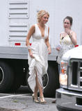 Blake Lively shows cleavage in white dress on the set of Gossip Girls in Long Island