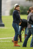Jessica Biel in tight jeans showing her booty with buttcrack candids on the set of movie Nailed